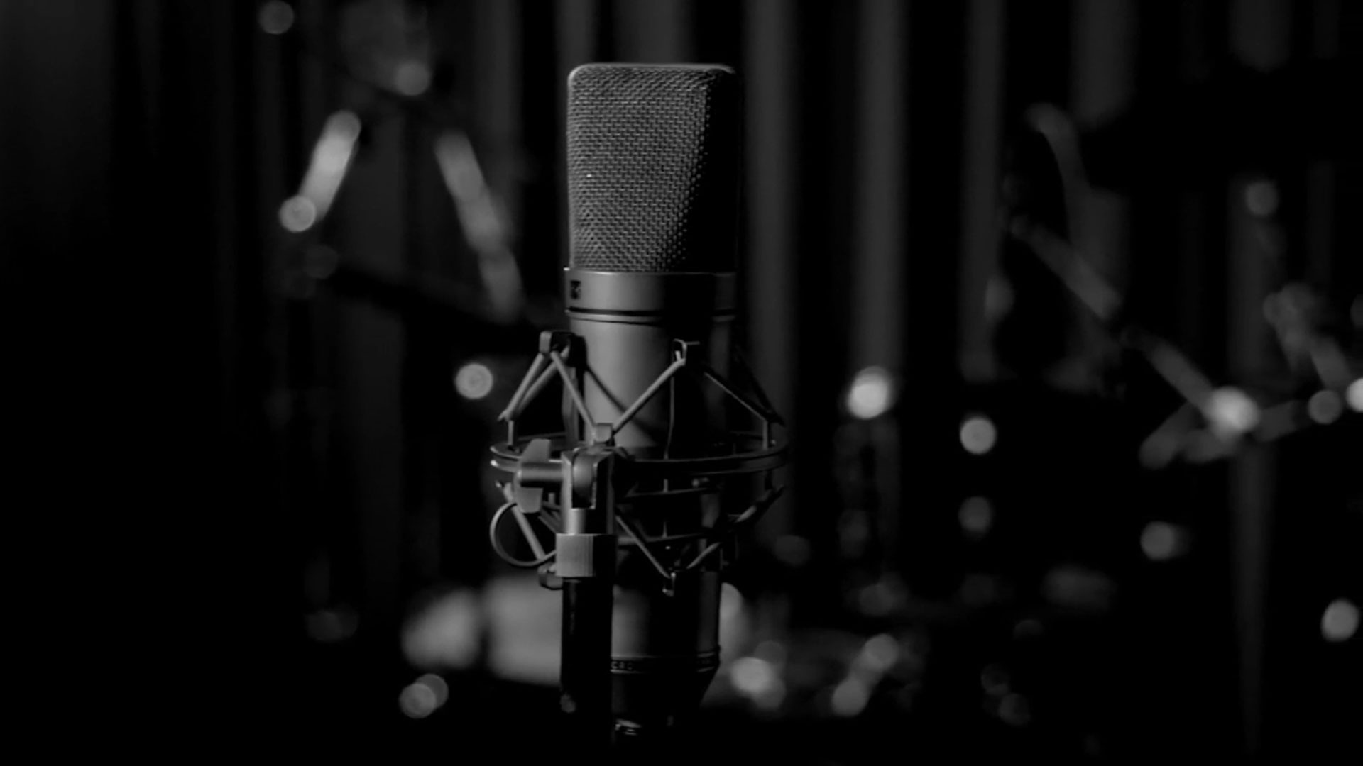 Black and white image of a recording microphone.